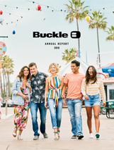 Buckle Annual Report 2018 Cover with 5 attractive teens wearing the latest Buckle Spring and Summer fashion walking on a boardwalk with palm trees, sunshine and blue skies in the background.